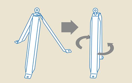 本体3本を重ねれば、コンパクトに収納可能。 重量8.9kg(1型メッキ角ハゼ)