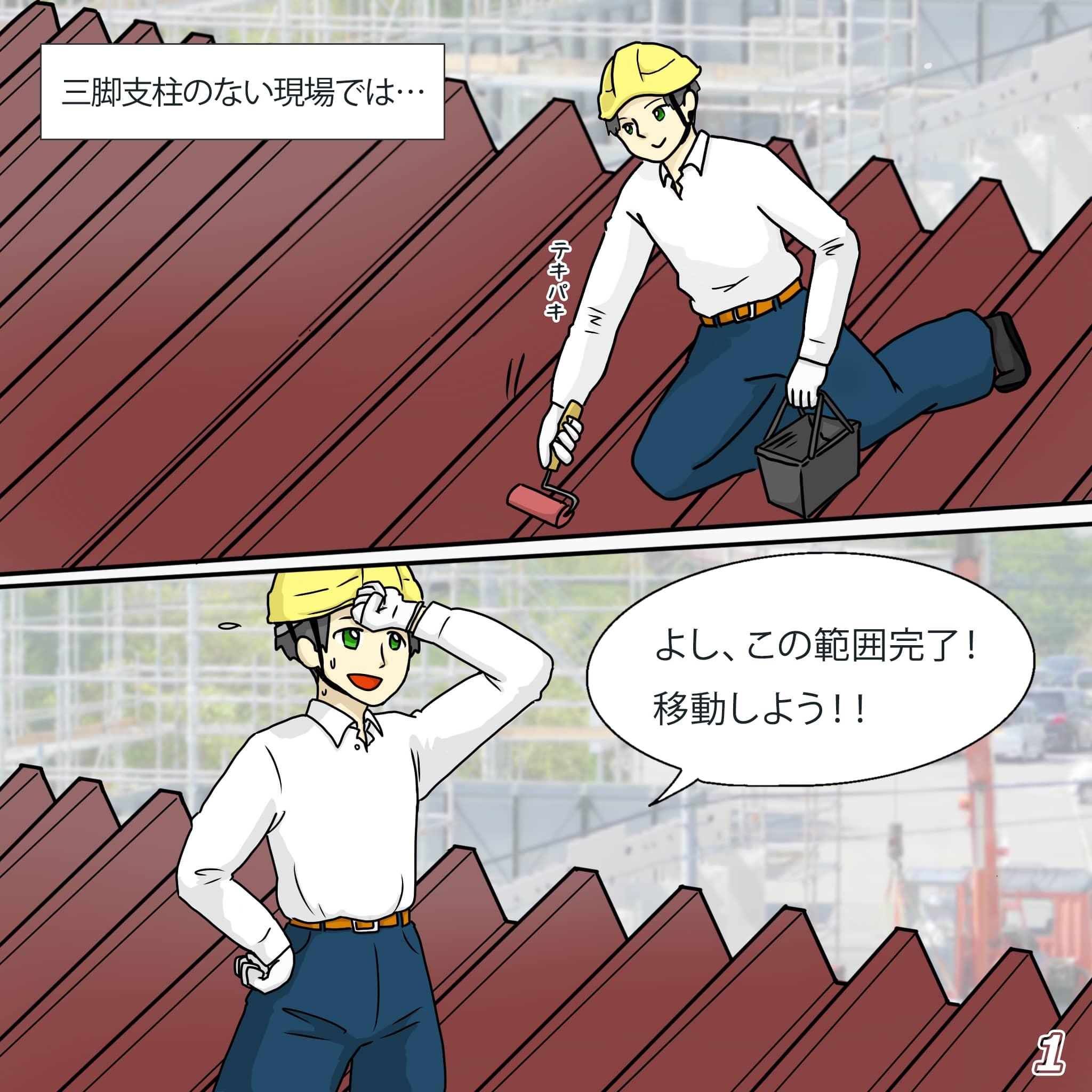 折板屋根上でペンキ屋さんが屋根を動きながら塗装しているマンガ